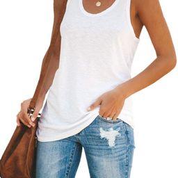 Womens Workout Color Block Tank Tops Racerback Yoga Basic Summer Casual Tee Shirt | Amazon (US)