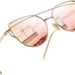 lentes de sol Cat Eye metálicas polarizadas, lente plano con revestimiento, para mujer   Amazon (US)