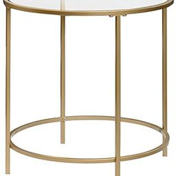 Sauder 417829 Int Lux Side Table Round, Glass/Satin Gold Finish   Amazon (US)