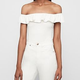 Ribbed Ruffle Off The Shoulder Thong Bodysuit | Express