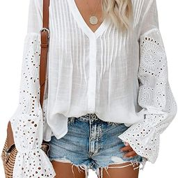 CANIKAT Women's V Neck Lace Crochet Flowy Bell Sleeve Button Down Casual T Shirts Blouses Tops | Amazon (US)