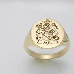 Gold Family Crest Signet Ring, Family Rings, Gold Signet Ring, Coat of Arms Ring, Family Crest Ri... | Etsy (US)
