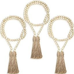 3 Pieces Wood Bead Garlands Rustic Bead Garlands Wooden Garland Beads with Tassels 3.7 Feet Farmh... | Amazon (US)