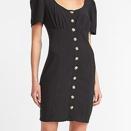 Button Front Scoop Neck Mini Dress | Express
