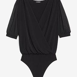 Wrap Front Sheer Sleeve Thong Bodysuit | Express