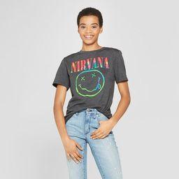 Women's Nirvana Neon Smile Short Sleeve Boyfriend Graphic T-Shirt (Juniors') - Regular & Plus Bla... | Target