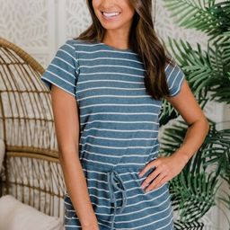 All For Your Love Blue Striped Romper   The Pink Lily Boutique