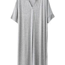 'Hailey' V-Neck Modal Cotton Short Sleeves Midi PJ Dress (4 Colors) | Goodnight Macaroon