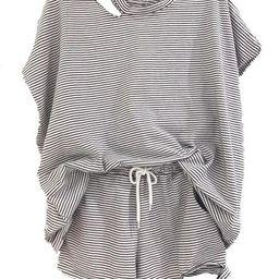 'Arya' Striped Distressed Short Sleeves T-Shirt and Shorts PJ Set (3 Colors) | Goodnight Macaroon