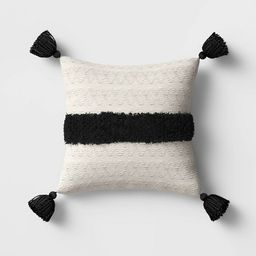 Outdoor Tasseled Throw Pillow Black/White - Opalhouse™   Target