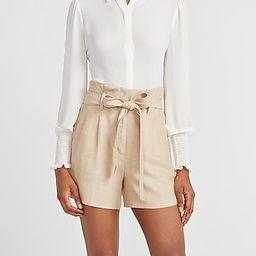 Super High Waisted Linen-blend Paperbag Tie Shorts | Express