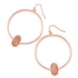 Elora Rose Gold Hoop Earrings In Rose Gold Drusy | Kendra Scott