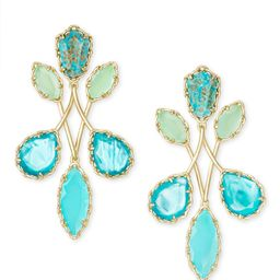 Gwenyth Gold Statement Earrings In Blue Mix | Kendra Scott