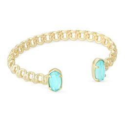 Macrame Elton Gold Cuff Bracelet In Aqua Illusion | Kendra Scott