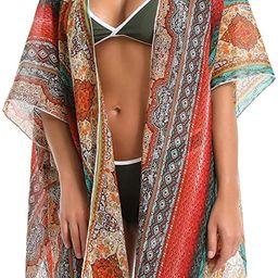 Cover Up for Swimwear Women Floral Kimono Cardigan Shawl Half Sleeve Chiffon Summer Beach Bikini ... | Amazon (US)