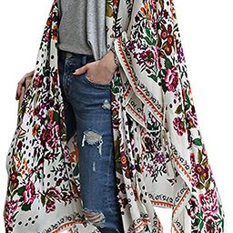 Women's Chiffon Blouse Loose Tops Beach Kimono Floral Print Cardigan | Amazon (US)
