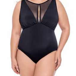 Time and Tru Women's Plus Size Mesh Insert High Neck One Piece Swimsuit | Walmart (US)