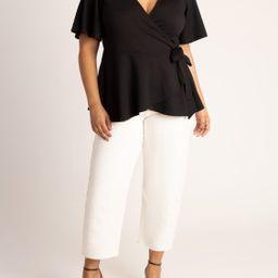 ELOQUII Women's Plus Size Flutter Sleeve Peplum Wrap Top | Walmart (US)