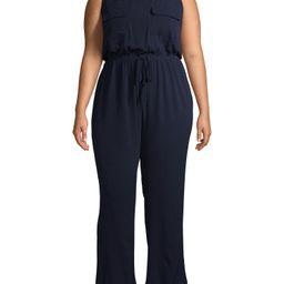 Monteau Women's Plus Size Sleeveless Wide Leg Jumpsuit with Drawstring Waist | Walmart (US)