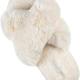 HALLUCI Women's Cross Band Soft Plush Fleece House Indoor or Outdoor Slippers   Amazon (US)