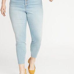 High-Waisted Secret-Slim Pockets Button-Fly Plus-Size Rockstar Super Skinny Ankle Jeans   Old Navy (US)