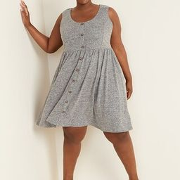 Fit & Flare Linen-Blend Button-Front Plus-Size Sleeveless Dress   Old Navy (US)