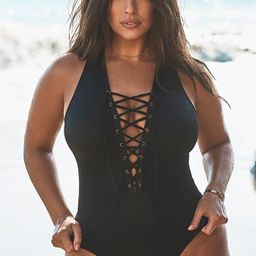 Ashley Graham x Swimsuits For All CEO Black Lace Up One Piece Swimsuit | Swimsuitsforall.com