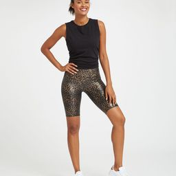 Faux Leather Printed Bike Short   Spanx