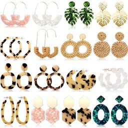 FIFATA 16 Pairs Statement Rattan Earrings for Womens Fun Acrylic Drop Earrings Resin Trendy Bohem... | Amazon (US)