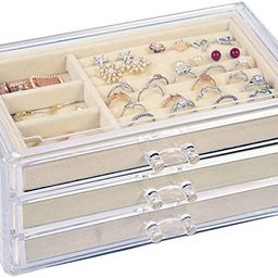 V-HANVER Jewelry Boxes for Women with 3 Drawers, Velvet Jewelry Organizer for Earring Bangle Brac... | Amazon (US)