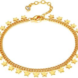 Dremmy Gold Layered Chain Bracelet, Dainty Evil Eye Bracelets Stacking Chain Figaro Chain Box Cha... | Amazon (US)
