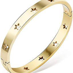 Jude Jewelers Stainless Steel Stars Open Clasp Classical Plain Bangle Bracelet | Amazon (US)