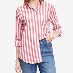 J.Crew Women's Button Down Shirts RED - Red & White Stripe Poplin Button-Up - Women   Zulily