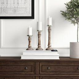 3 Piece Wood Candlestick Set   Wayfair North America