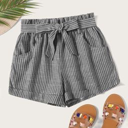 Striped Self Tie Shorts   SHEIN