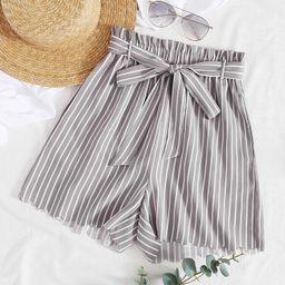 Paperbag Waist Belted Striped Shorts   SHEIN
