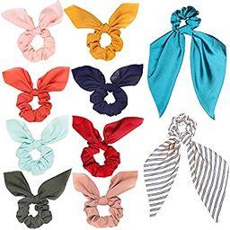 Cehomi10 Pcs Hair Scrunchies Satin Scarf Chiffon Ponytail Holder Bow Silk Headband Bobbles Soft E...   Amazon (US)