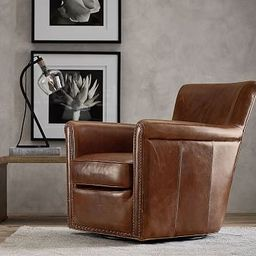 Irving Roll Arm Leather Swivel Armchair with Nailheads | Pottery Barn (US)