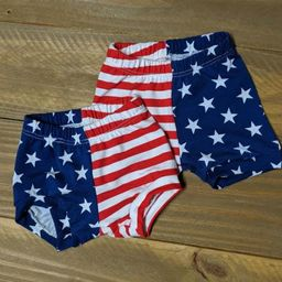 Fourth of July Bummies Shorties Diaper Cover Shorts Soft Cotton Lycra Knit American Flag Red Whit... | Etsy (US)