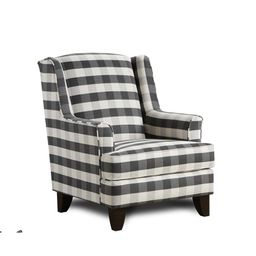 Brock Charcoal Black/White Block Plaid Accent Chair | Overstock