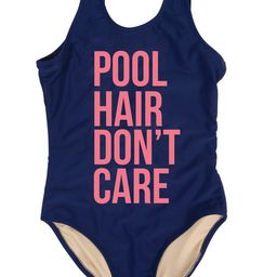 """One Piece tank suit -navy """" pool hair"""" 
