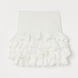 H & M - Ruffled Cotton Skirt - White   H&M (US)