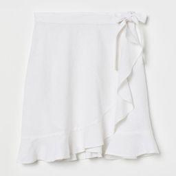 H & M - Linen-blend Wrap Skirt - White   H&M (US)