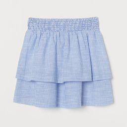 H & M - Tiered Cotton Skirt - Blue   H&M (US)