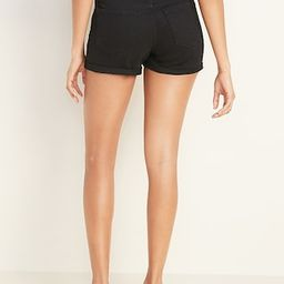 Mid-Rise Cuffed Black Jean Shorts for Women -- 3-inch inseam | Old Navy (US)