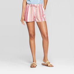 Women's Striped Mid-Rise Pull-On Shorts - Universal Thread Pink M | Target