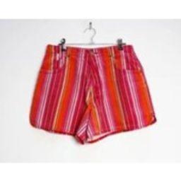 Pink Stripe Shorts Vintage Orange Striped Shorts Womens Medium Shorts Vintage Stripe Cotton Shorts P | Etsy (US)