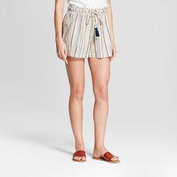 Women's Striped Crochet Trim Shorts - Knox Rose Ivory XS, Ivory/Pink | Target