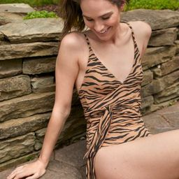 Aerie Pique Animal Print Wrap One Piece Swimsuit | American Eagle Outfitters (US & CA)