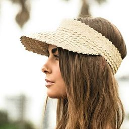 Sun Visor Hat Women, Straw Summer Beach Hats Wide Brim Outdoor Camping Hiking | Amazon (US)